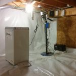 SaniDry Dehumidifier installed in crawl space